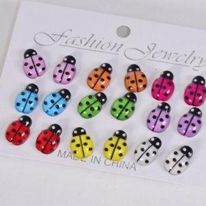 9 Pairs of Cute Lady Bug Earrings Ladybug Jewelry